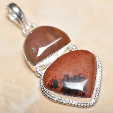 """Handmade Obsidian Mahogany Jasper 925 Sterling Silver Pendant 2.25"""" #P11533"""