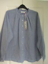 JOHN LEWIS SOFT BLUE CHAMBRAY COTTON RUFFLE SHIRT. UK 14, EUR 40-42, US 10. BNWT