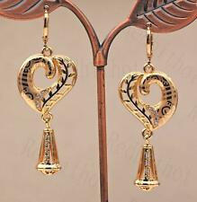 """18K Gold Filled 2.1"""" Earring Laser Carving Branch Leaves Hollow Heart Trumpet DS"""