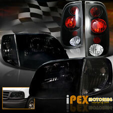 1997-2003 Ford F150 Shiny Smoke Headlights + Corner Signals + Black Tail Lights