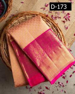 Indian Sari Saree Kanchipuram Silk Peach Saree Wedding Party Stylish Pakistani