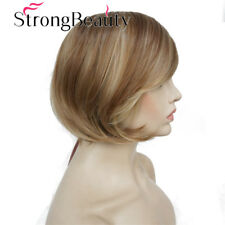Women's Short Straight Bob wig Strawberry Blonde Mix Natural Synthetic Full Wigs