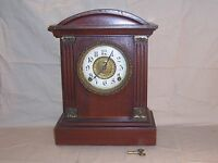 Rare Antique Ingraham Mantle Clock with Columns  Chimes Shelf Brass Accents