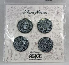 Disney Trading Pins ALICE IN WONDERLAND BLACK WHITE  Sealed Booster Set of 4