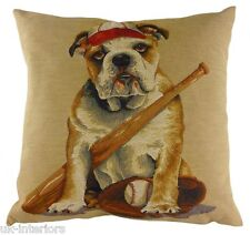 "18"" SPORTING BULLDOG Dog Belgian Tapestry Cushion Evans Lichfield LC551 Baseball"