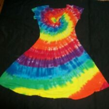 Tie Dye Woman's Twist Front Dress XL Rainbow Spiral Handmade Tye Dyed Hippie