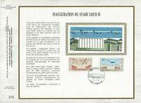 FEUILLET CEF 1er JOUR MONACO SUR SOIE INAUGURATION DU STADE LOUIS II 1985