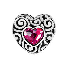 New Brighton SWIRLY LOVE Heart Silver PINK Crystal Bead Charm RETIRED  MSRP $19