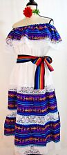 5 de Mayo Mexico Dress Fiesta Vestido 2 pc sash Adelita Folkloric Vintage Ethnic