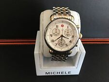 NEW MICHELE CSX 39 LARGE MOP SUB-DIALS TWO-TONE WOMEN'S WATCH MWW03D000026
