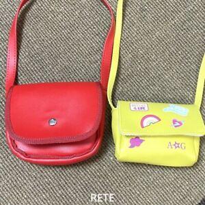 2PCS 18'' American Doll Molly's Red Purse & Green Crossbody Shoulder Bag