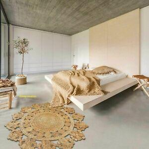 Jute Rug 100% Natural 5x5 Feet Hand Braided Carpet  Reversible Modern Area Rug