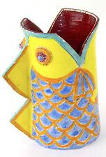 20th c Italian Art Pottery Colorful Yellow, Blue & Orange Fish Vase, Bitossi Era