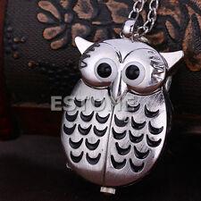Retro New Lovely Cute Owl Pendant Necklace Quartz Chain Pocket Watch