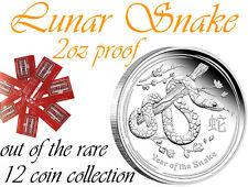 Lunar II Snake 2 oz SILVER PROOF capsuled +COA, RARE Part of the 12 Coin Set
