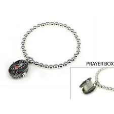 Silver Toned Stretch Bracelet w Pink Ribbon Breast Cancer Awareness Prayer Box