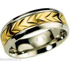 Mens wheat pattern wedding band Ring 2 tone 14k gold overlay size 11