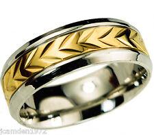 Mens wheat pattern wedding band Ring 2 tone 14k gold overlay size 9