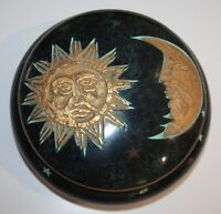 "VTG DECOR CERAMIC CELESTIAL MOON SUN STARS TRINKET JEWELRY DISH WITH LID 7"""