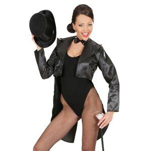 Ladies Black Satin Tailcoat Jacket Ringmaster Circus Showman size 10-12 Fancy