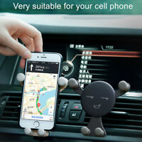 Cute Smile Phone Holder Gravity Car Mount Air Vent Stand Accessories Universal