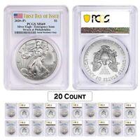 Lot of 20 - 2020 (P) 1 oz Silver American Eagle PCGS MS 69 FDOI Emergency Issue