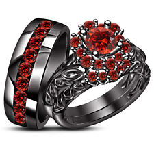 2 25 Ct Red Garnet Wedding Engagement 14k Black Gold Finish Women Men S Trio Set