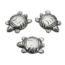 Antique Silver Plate Double Sided Turtle Beads 20mm PK3 (B28/2)