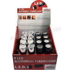 2 x 9 LED Torcia in alluminio Torcia elettrica Batterie Incluse SUPER LUMINOSI ENERGIA NUOVO