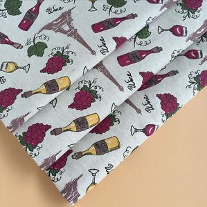 50x150cm Cotton Linen Fabric DIY Home Deco Fabric Print Grape Wine Bottole F613c