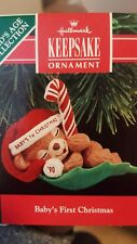 1990 Hallmark Baby's First Christmas Ornament Bear on Leaf NIB NEW IN BOX