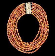 Antique Vintage Deco Gold Plated Oak Leaf 8 Strand Bakelite Amber Bead Necklace!