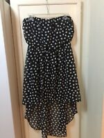 Trixxi White & Black Polka Dot High Low Strapless Dress Juniors Size L