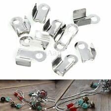 100x Folding Crimps Clamp Connector Ends Silver Cords f. Leather Jewellery Craft