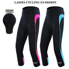Women Cycling Tights 3/4 Shorts Padded Ladies Leggings Cool Max Anti Bac Pad UK