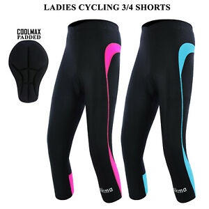 Women Cycling Tights 3/4 Shorts Padded Ladies Leggings Cool Max Anti Bac Pad UK
