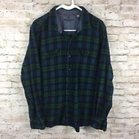 Woolrich Mens XL Green Plaid Check Flannel Button Down Long Sleeve Pocket Shirt