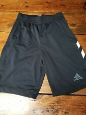 ADIDAS Men's Med Black w White 3 stripes Sports Basketball Pocket Shorts Running