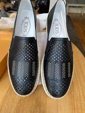 +600 NEW Tod's Gomma Rafia Espadrille Leather Shoes Black size 41🌸