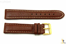 20mm Genuine Brown Leather Watch Band Strap Gold Tone Buckle for Heavy Watches
