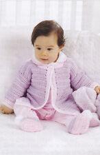 Crochet Pattern ~ BABY BEDTIME JACKET, BOOTIES, BLANKET - Instructions