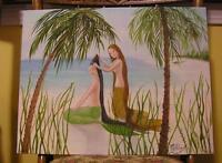 MERMAID FRIENDS HAIRDRESSER LONG HAIR PALM TREES OCEAN ARTISTIC NUDE PAINTING