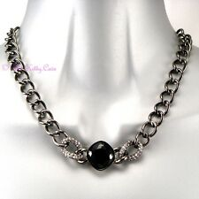 Hematite Silver Grey Toggle T-Bar Statement Chain Necklace w/ Swarovski Crystals