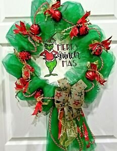 Merry Grinch Mas Farmhouse Door Wall Wreath