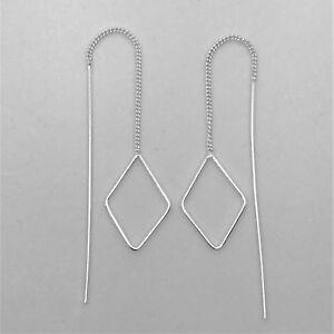 Genuine 925 Sterling Silver Threader Long Bar Chain Diamond Thread Earrings