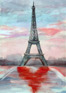 Watercolor Eiffel Tower Red Heart 500 Pcs Jigsaw Puzzle DIY Educational Toy Gift