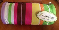 "Four Peas Pencil Bag, Cosmetic Bag, Travel NEW Multicolor Striped 8"" X 3"" $9"