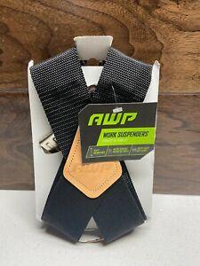"AWP Universal Suspenders Heavy Duty Bite Clips 2"" Wide Adj Straps Black One Size"