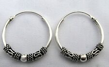 Pair Of Sterling Silver  925  Bali  Ball  Hoop Earrings  12  MM  !!      New !!
