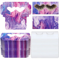 New listing 100 Pieces Empty Eyelashes Packaging Box Paper Double Heart Window Lash Storage